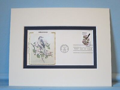 State Bird & Flower of Arkansas - Mockingbird & Apple Blossom & First Day Cover