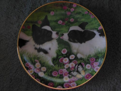 Danbury Mint Papillon BUTTERFLY KISSES Dog Limited Edition Plate