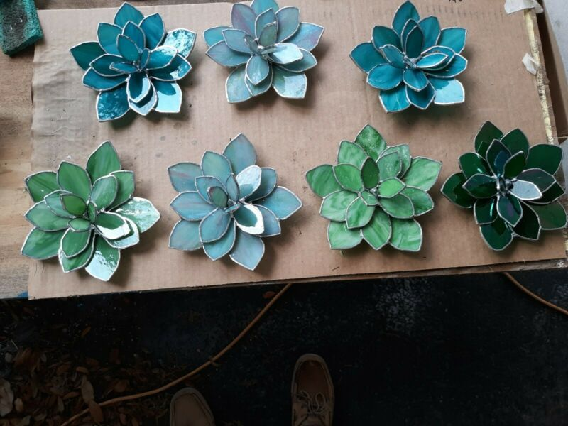 Stained Glass Succulent Flower :