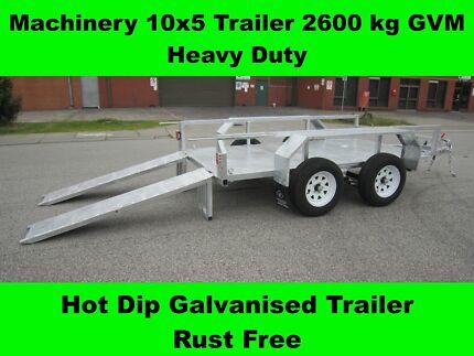 MACHINERY 10x5 TRAILER 2600kg GVM HEAVY DUTY