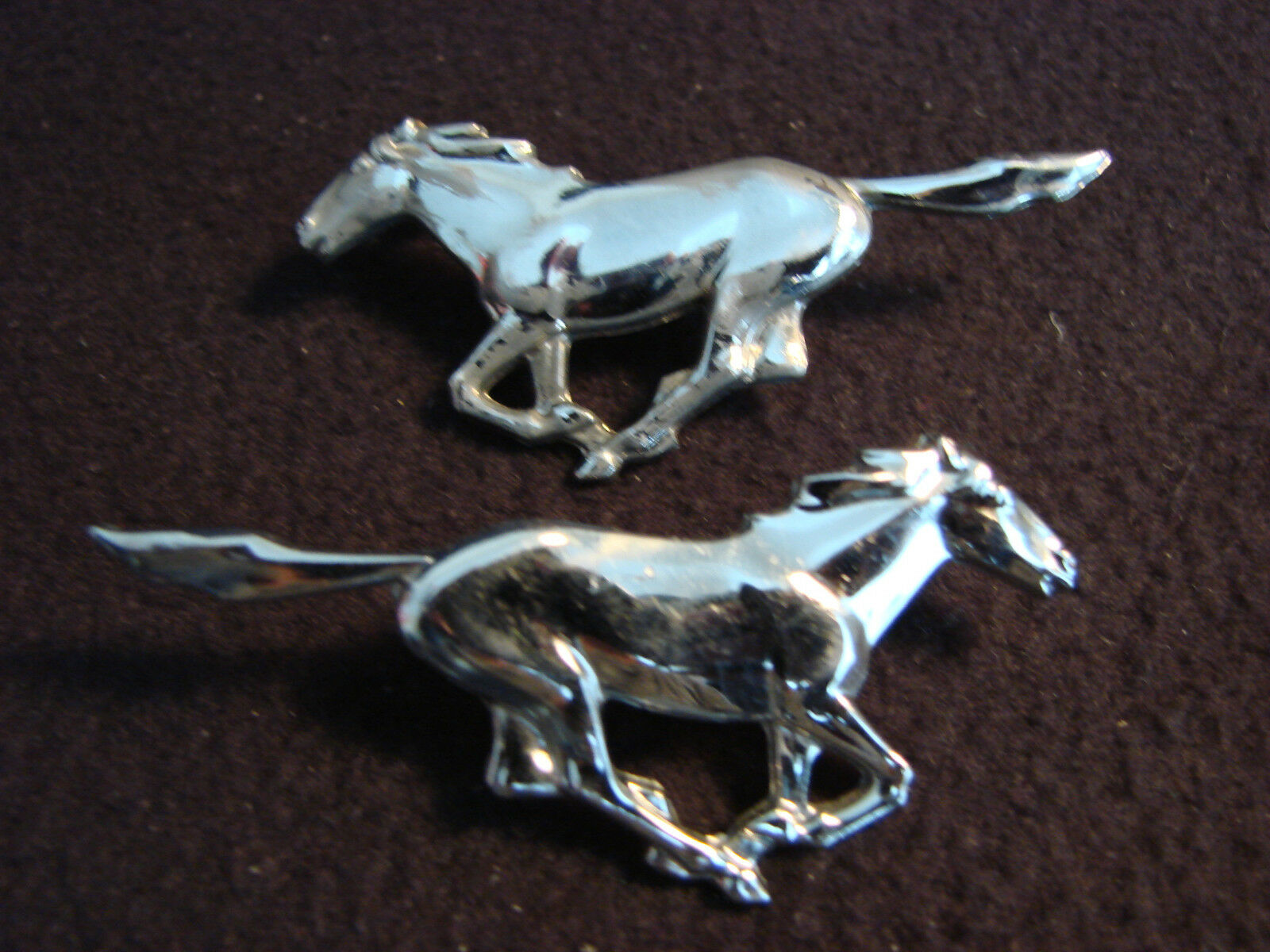 Vintage Ford Mustang Running Horse Emblems ~ Straight Tail D4ZB 6920 802 & 03 AA
