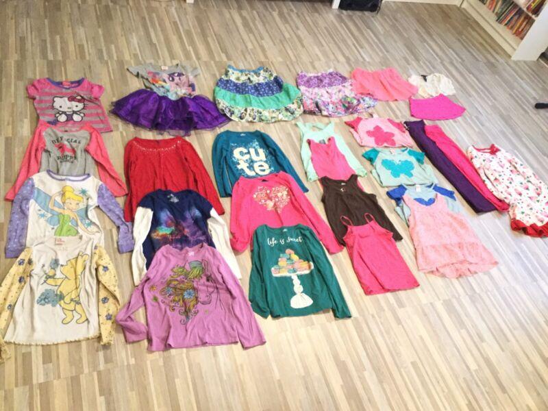 27 pieces Girls Size 7-8 Clothing Mixed Lot, pajamas, shirts, skirts, leggings