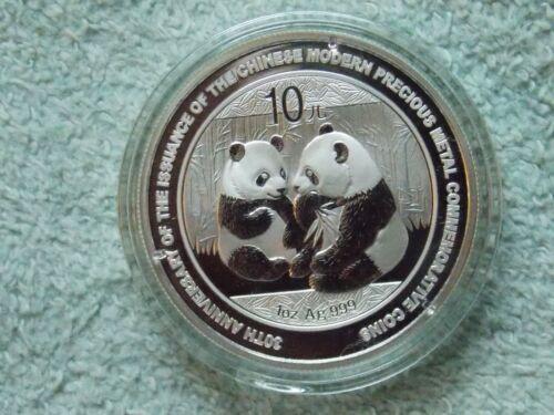 2009 Chinese Silver Panda 10 Yuan 1 OZ BU (30th anniversary)
