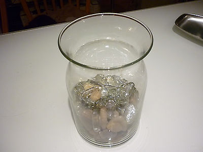 Glass Beads For Vases (Vintage Glass Vase w/ River Rocks and Glass Beads For Flower Arrangements)