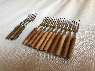 13 Vintage Teak Wood Handle Cocktail Forks Seafood Crab Midcentury - Teak Handle