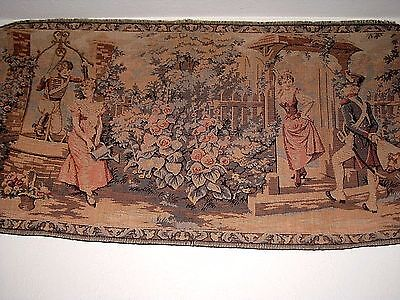 Vintage Woven Cotton Tapestry Courting Couples in French Renaissance Garden