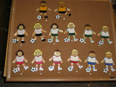 Christmas Soccer Jumping Jack Ornament  Various Team Colors VINTAGE CUTE