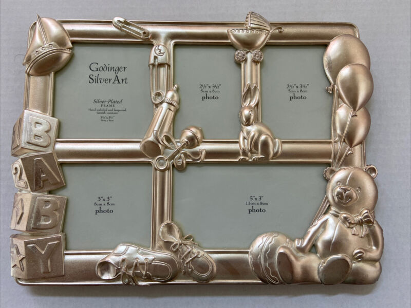 Godinger Silver Art Silver Plated Baby Photo Frame - Holds 5 Pictures NEW