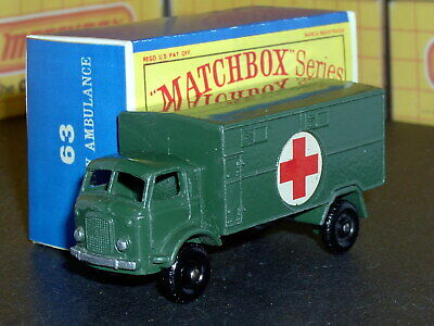 Matchbox Lesney Ford 4x4 Military Ambulance 63 a1 D-R SC4 EX/NM & crafted box