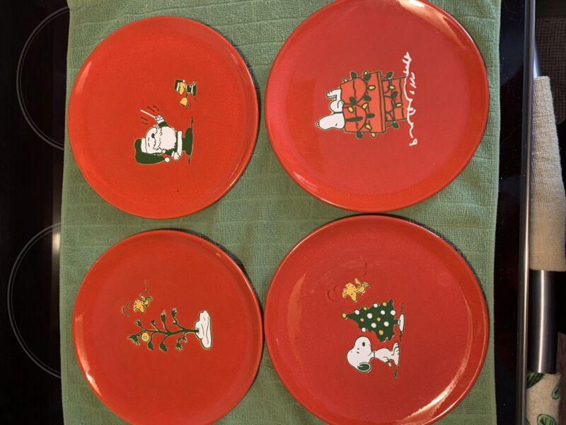 Waechtersbach Peanuts Snoopy Woodstock Christmas Plate Set Retired Germany