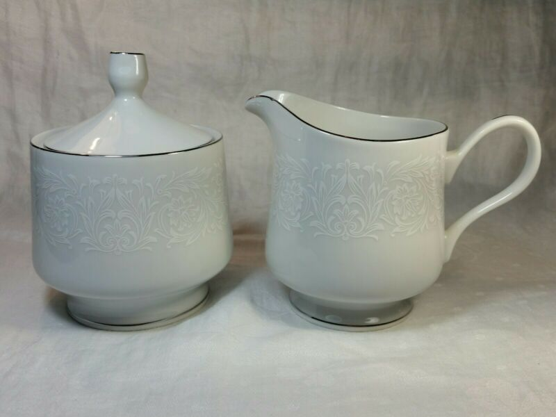 Carlton Japan PLYMOUTH Sugar Bowl and Creamer Set, White Floral on White, 303