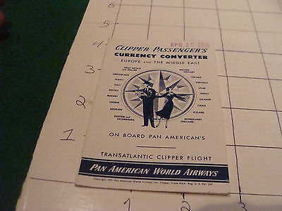 Vintage Paper  1954 Clipper Passengers Currency Convertor Pan American