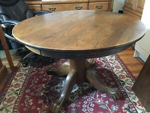 Solid Oak Lion's Paw Pedestal Table & 4 Matching Chairs