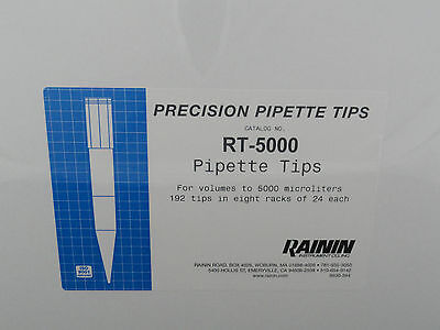 Rainin Precision Pipette Tips Rt-5000 192 Tips In 8 Racks Of 24 Sealed Box