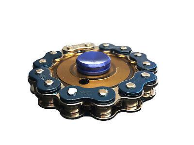 Bike Chain Fidget Hand Spinner Finger Toy Focus Gyro - Gold/Blue
