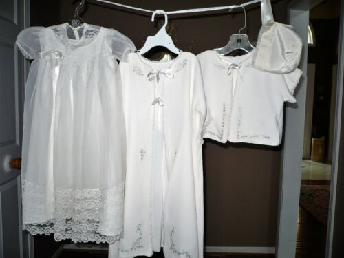 Vintage Baby Girl Christening White Nylon Dress Outfit Hand Embroidery 5 Pieces