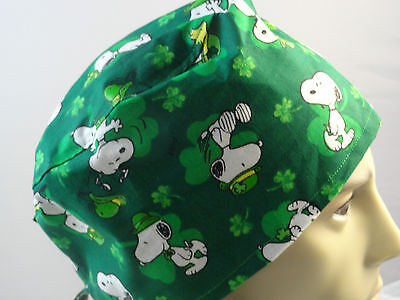 Medical Surgical scrub hat cap with ties Snoopy Woodstock Irish green unisex