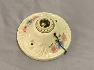 Vtg Flush Mount Porcelain Ceiling Light Shabby Floral Chic Old Sconce 86-18E