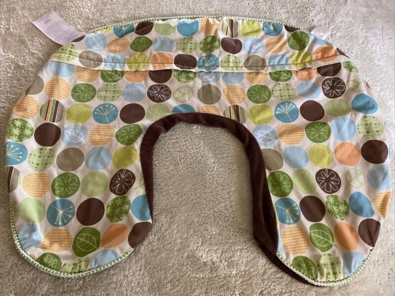 Boppy Brown Fleece Green Blue Orange Circles Nursing Pillow Cover