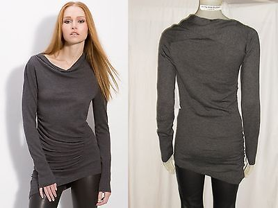 Nwt  208 Nordstrom Leith Draped Gathered Asymmetric Soft Knit Tunic Gray Sale L