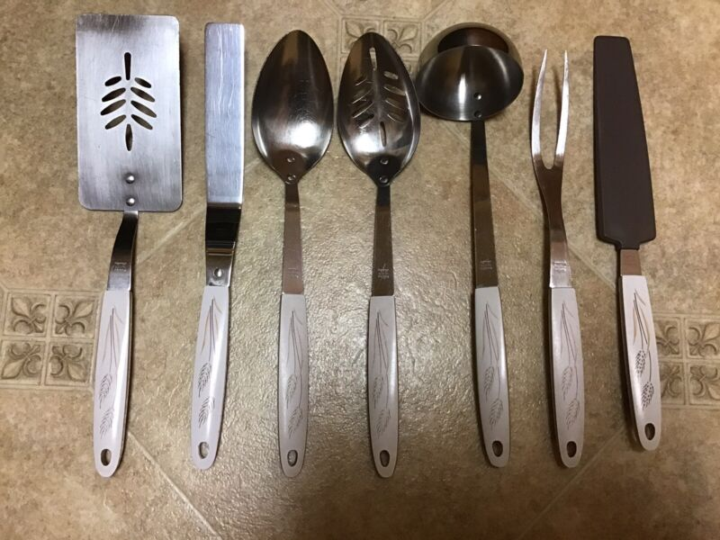 Maid of Honor Vintage 7 PC Stainless Wheat Pattern Spatula Ladle Cake Fork Spoon