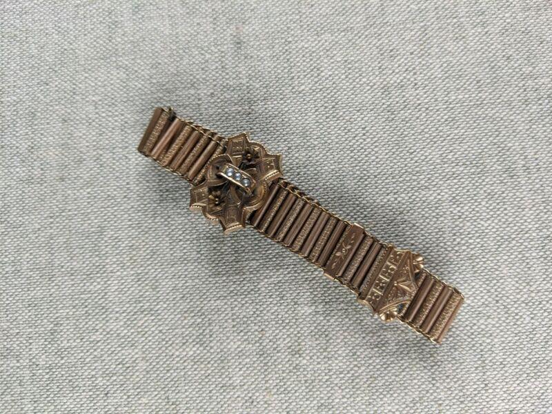 Antique Victorian Link Slide Bracelet Pearl Yellow Gold Filled