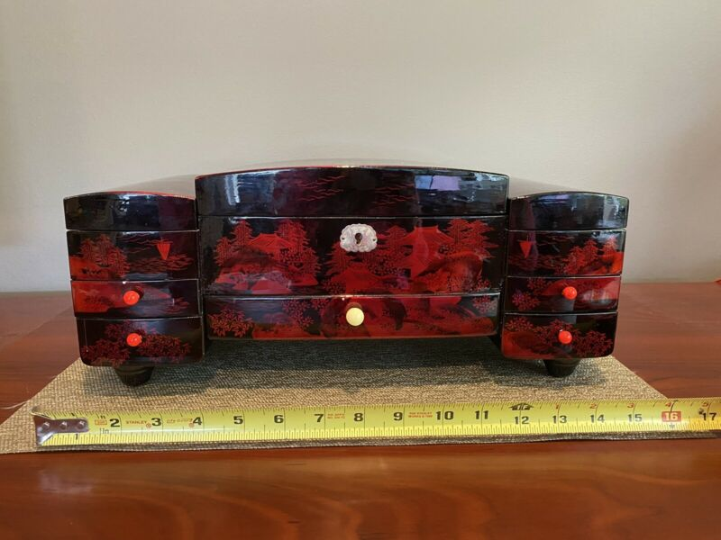 Vintage Japanese Red/Black Lacquer Jewelry Music Box