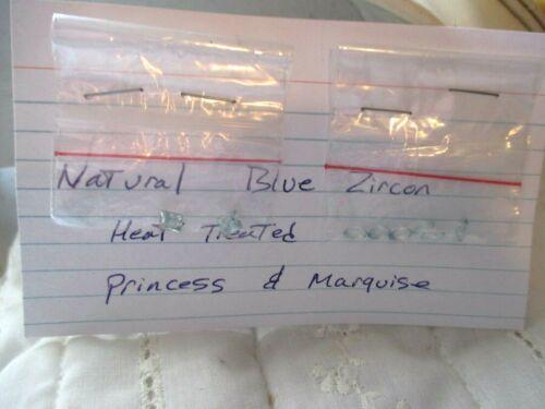 2 PRINCESS CUT NATURAL BLUE ZIRCON STONES  6 MARQUISE CUT NATURAL BLUE ZIRCONS