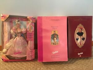 3 Barbie doll box holiday hallmark Rapunzel Elizabethan queen