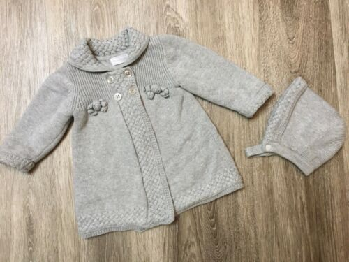 Mayoral Baby Girl Knit Gray Pram Coat Sweater and Bonnet 4-6 M 70cm