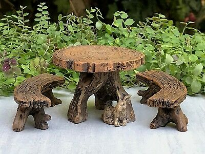 Miniature Dollhouse FAIRY GARDEN Furniture ~ Resin Log Table with Two - Painted Garden Furniture