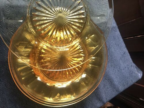 "Lot of 7 Imperial Glass Yellow Old Williamsburg 8 3/4"" Plates Depression"