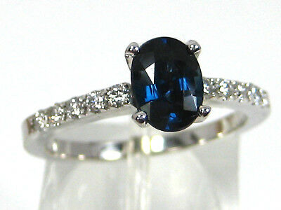 Blue Sapphire Ring 14K white gold Solitaire VS African Natural Heirloom $2,845