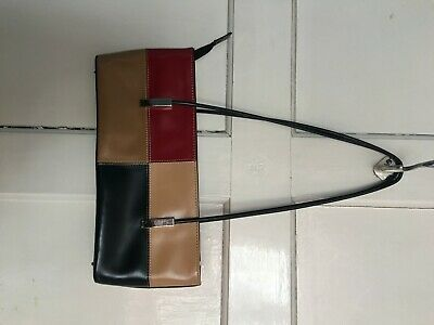 vintage 90s handbag black, red, brown, beige retro bag