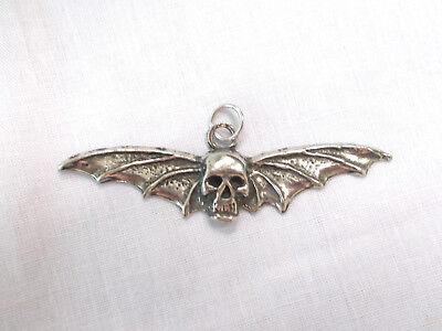 XL SPINY BAT WING SKULL - FLYING HUMAN SKULL HEAD CAST PEWTER PENDANT NECKLACE