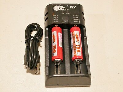 Used, Imren K2 USB Intelligent 2a Battery Charger w/ 2 Efest 14500 3.7v batteries for sale  Salt Lake City