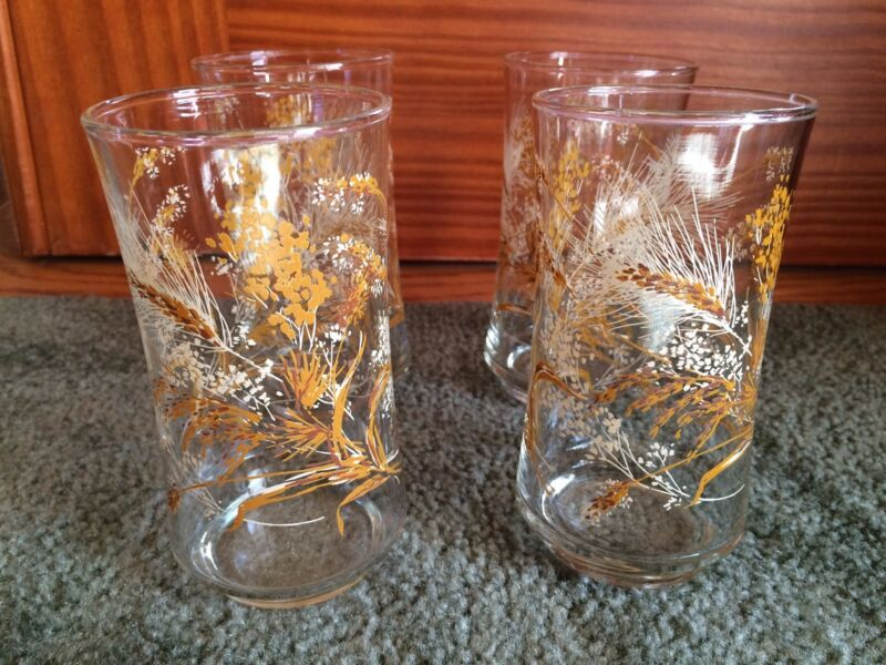 Set of 4 Libbey Vintage Wheat Glasses Water Glasses