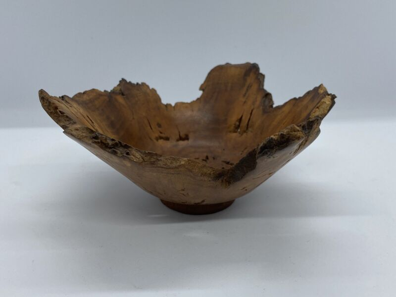 Vintage BEAUTIFUL Mulberry BURL WOOD BOWL Wooden Sculpture Signed G. Goff '87