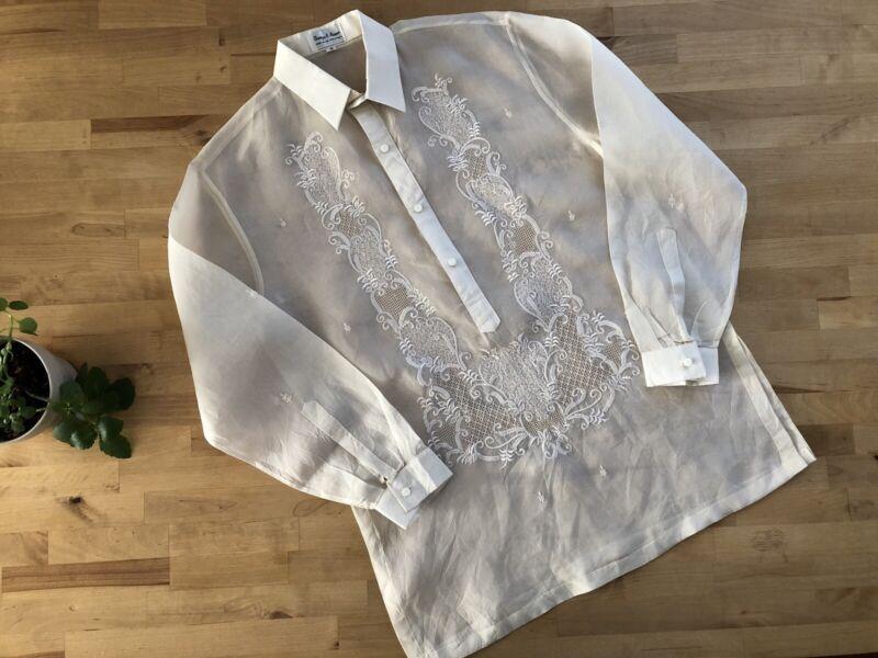 Barong Tagalog Filipino Dress Shirt Jusi Silk Organza EDUVIGES ALUNAN Lumban