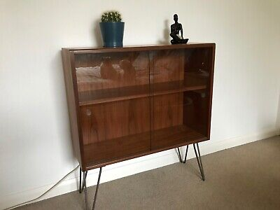 Mid Century Glass Fronted Cabinet Retro Looking Hairpin Legs
