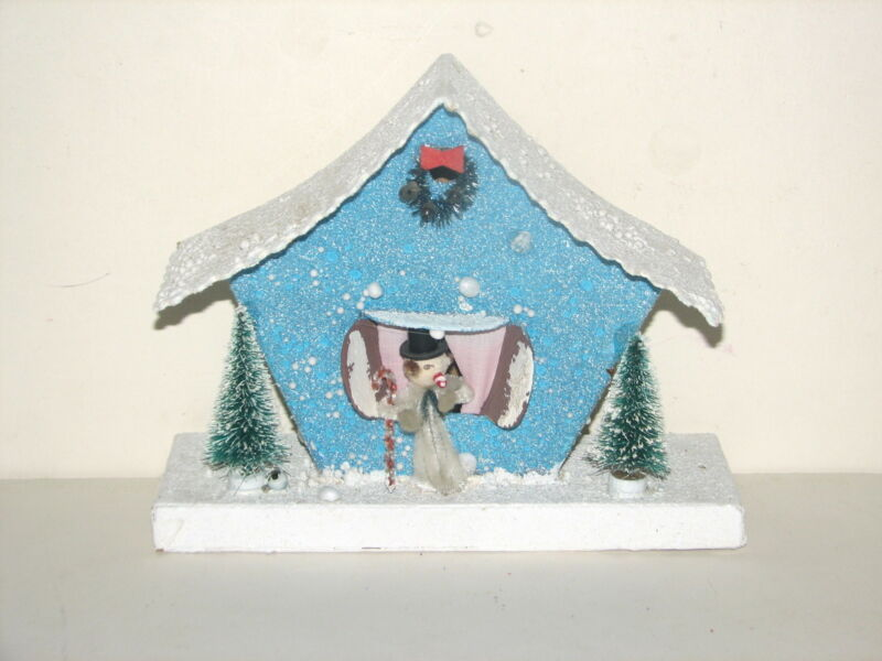 VTG Cardboard Mica Putz Japan Christmas Village Blue Sugared House Snowman B