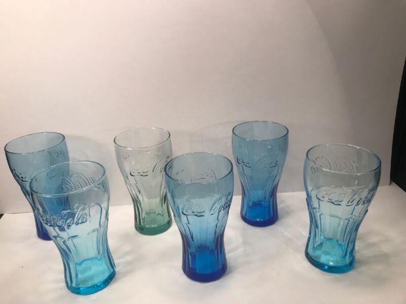 6 COCA-COLA GLASSES VARIOUS COLORS  14 OUNCES