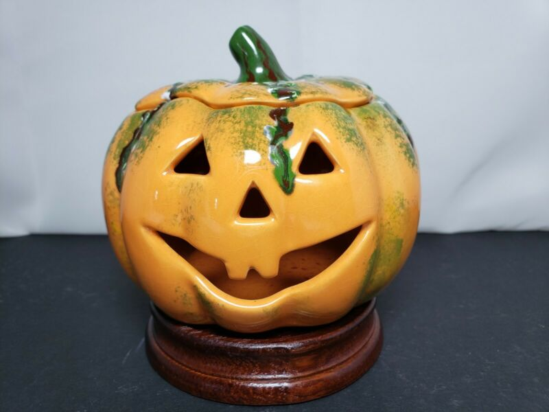 """Cute Vintage Handpainted Ceramic Pumpkin Luminary With Lid 4"""" X 5"""" Marked #4259"""