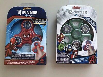 Set Of 2 Zuru Fidget Spinners- Spider Man, Hulk, New
