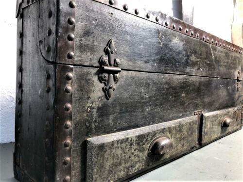 Antique Wooden Carpenters Chest Tool Box w/ Copper Corners Brass & Steel Details