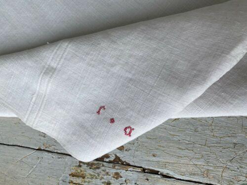 Antique French linen dishtowel  kitchen towel D J monogram The Textile Trunk
