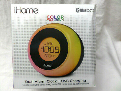 iHome iBT290 Bluetooth Alarm Clock Radio and Color Changing Wireless Speaker USB