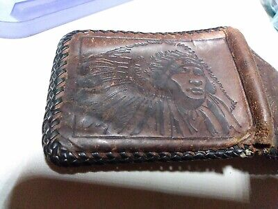 Vintage RARE Leather Indian Engraved Wallet