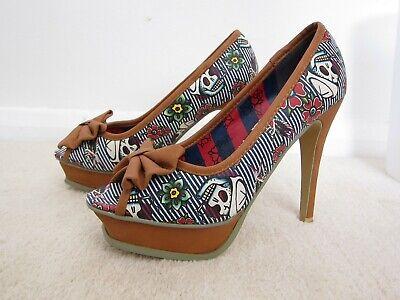 "Iron Fist shoe UK size 5/EUR 38 Skulls & Flowers blue/white/tan 4""heels"