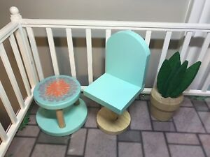 Barbie furniture, garden table and chair